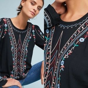 Anthropologie Embroidered Black Long Sleeve Blouse